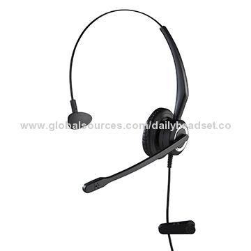 Monaural Wired Headphone with Adjustable Headband/Replaceable Soft Foam or Soft Leatherette Ear Pad