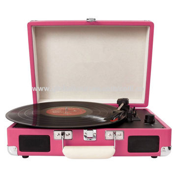 Classic suitcase record vinyl turntable player with Bluetooth, USB, SD, built-in speakers
